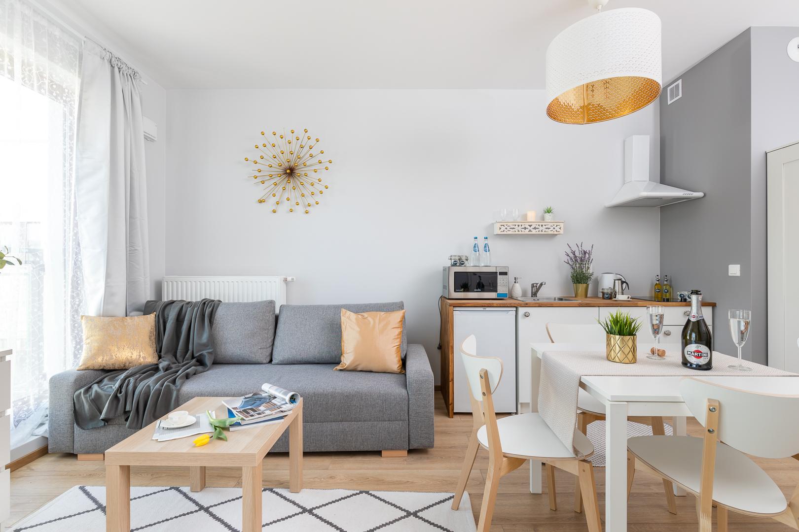 Stylish bedroom at Burakowska Apartments