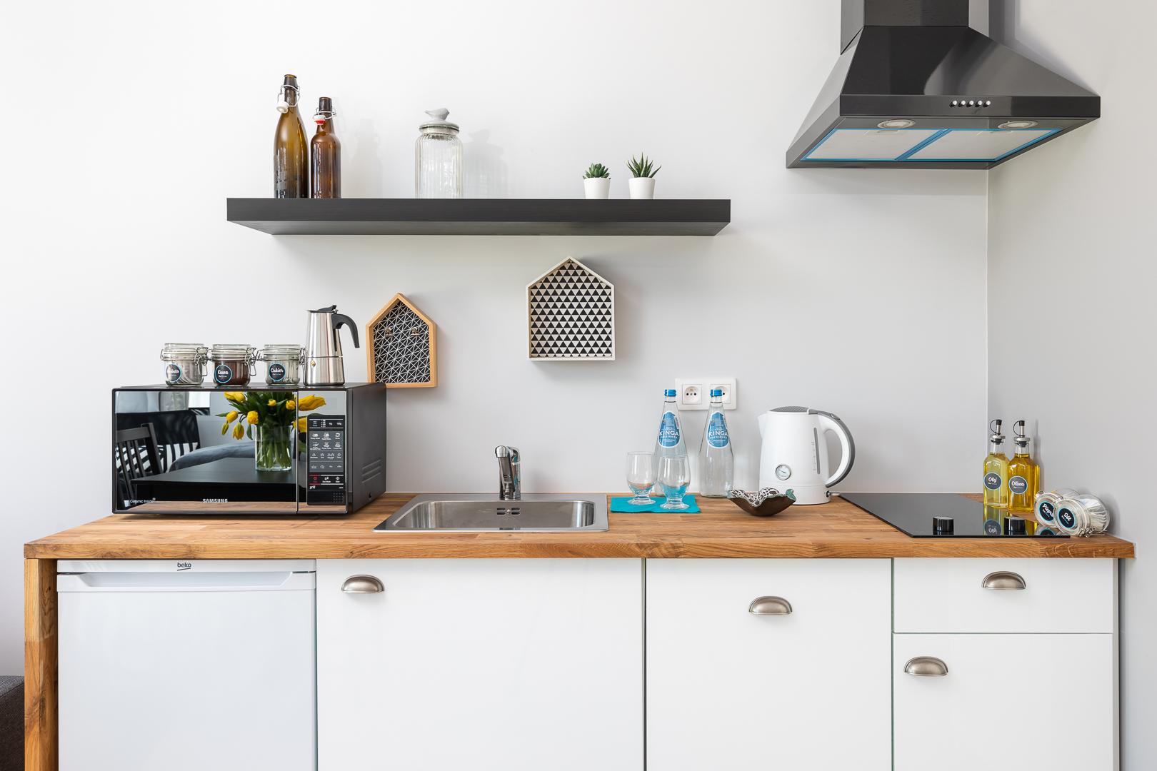 Kitchen facilities at Burakowska Apartments