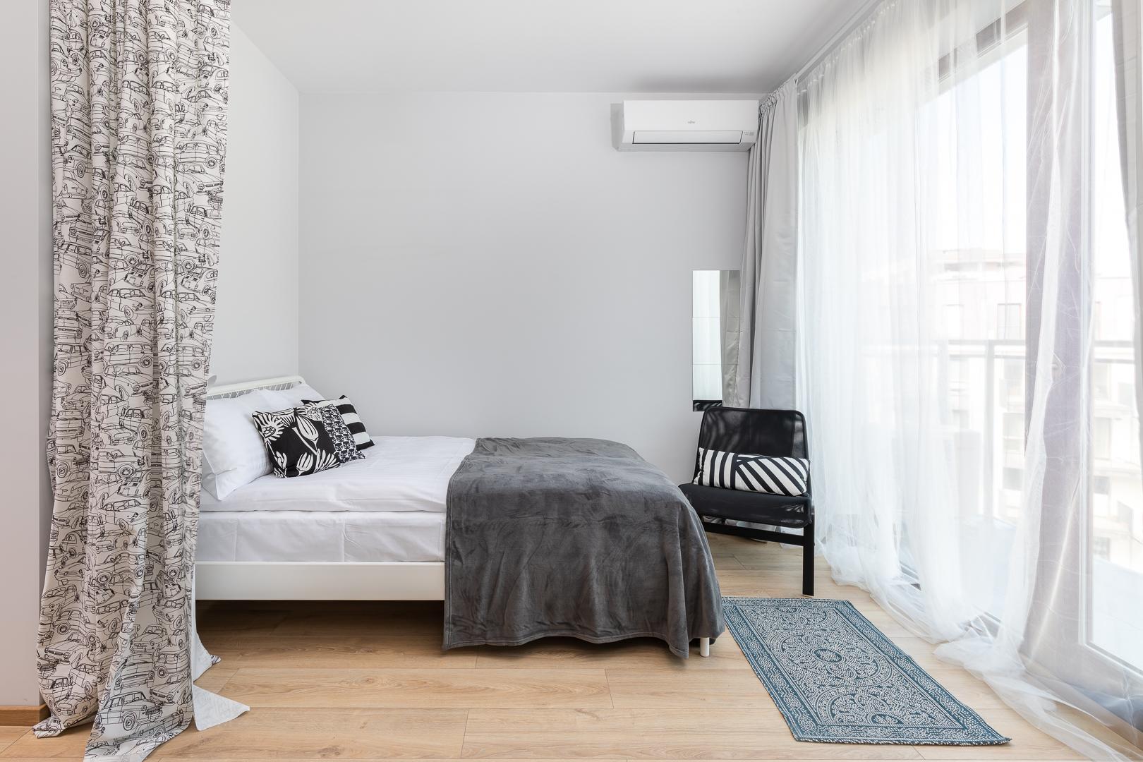Double bed at Burakowska Apartments