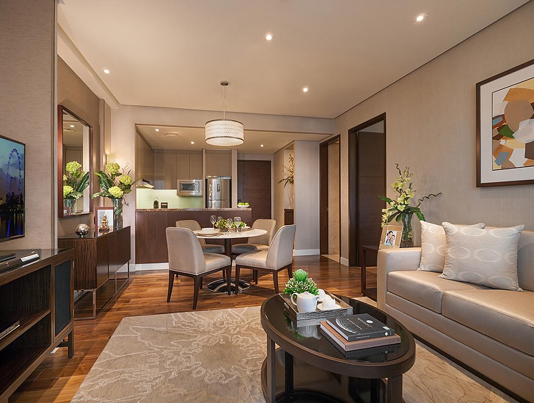 Living area at Ascott Bonifacio Global City Apartments