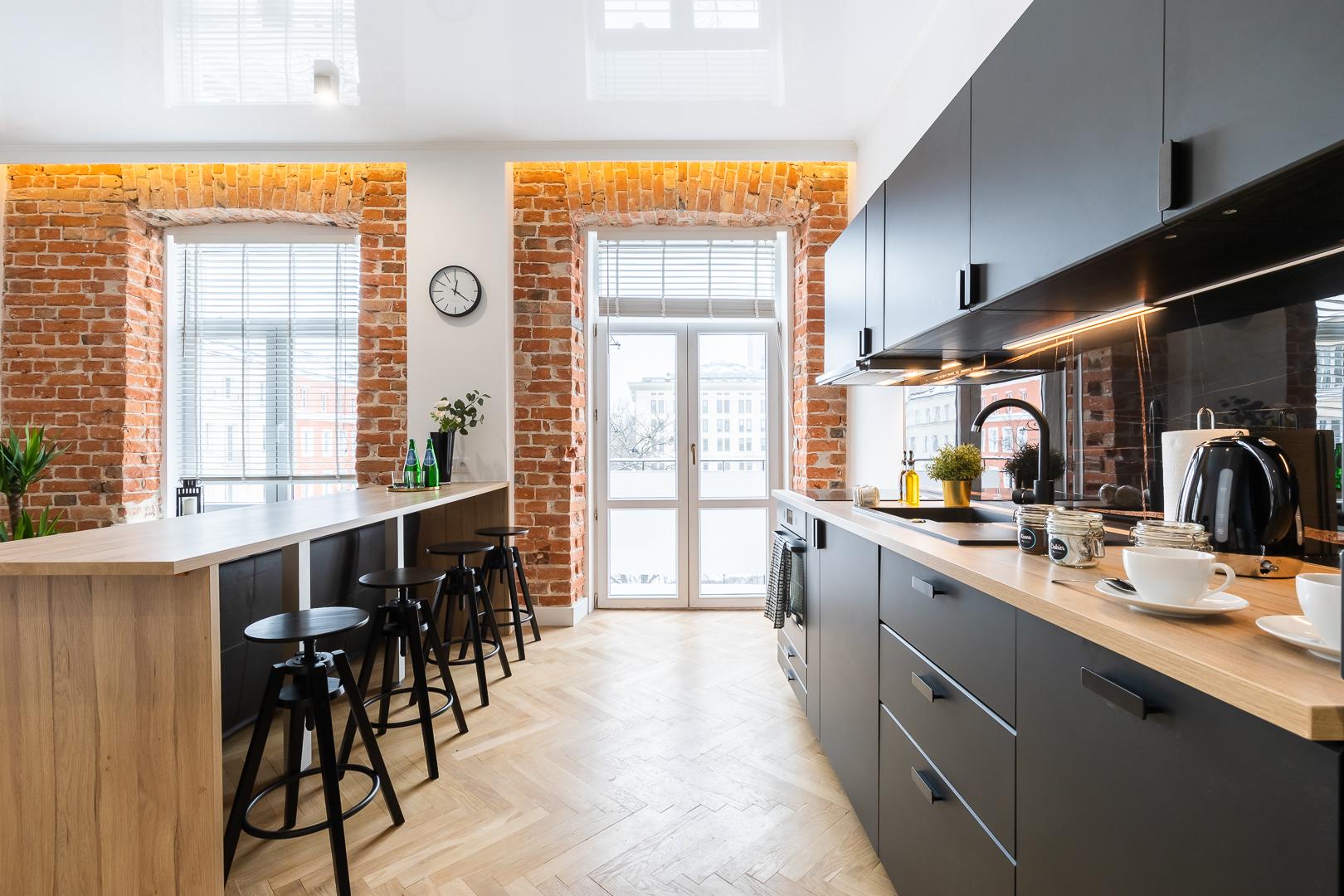 Kitchen space at Wspolna Apartments