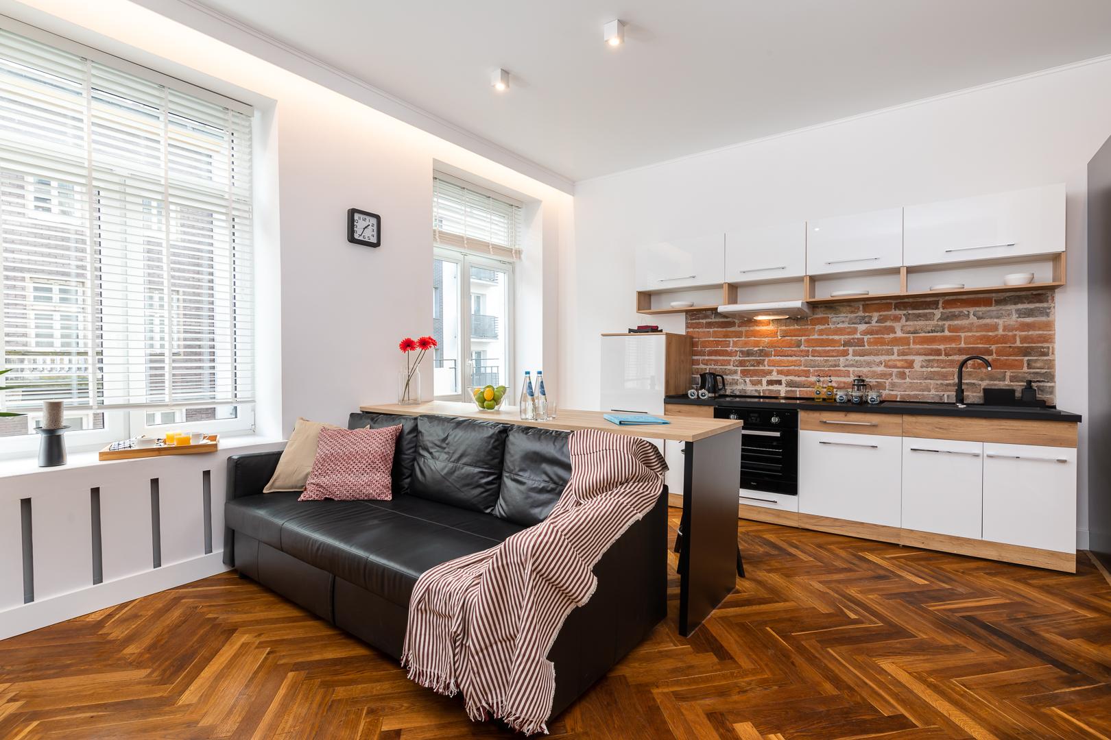 Sofa area at Wspolna Apartments