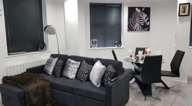 Living room at The Equinox Apartments