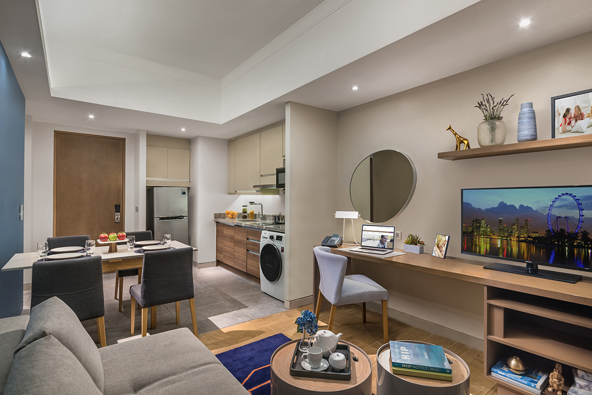 Living area at Citadines Bay City Apartments