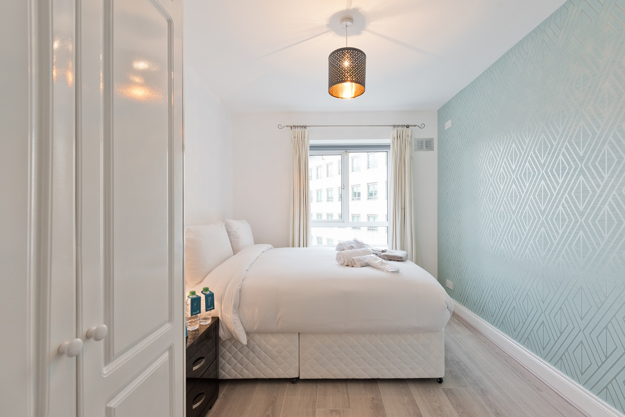 Bright bedroom at Lansdowne Square Apartment