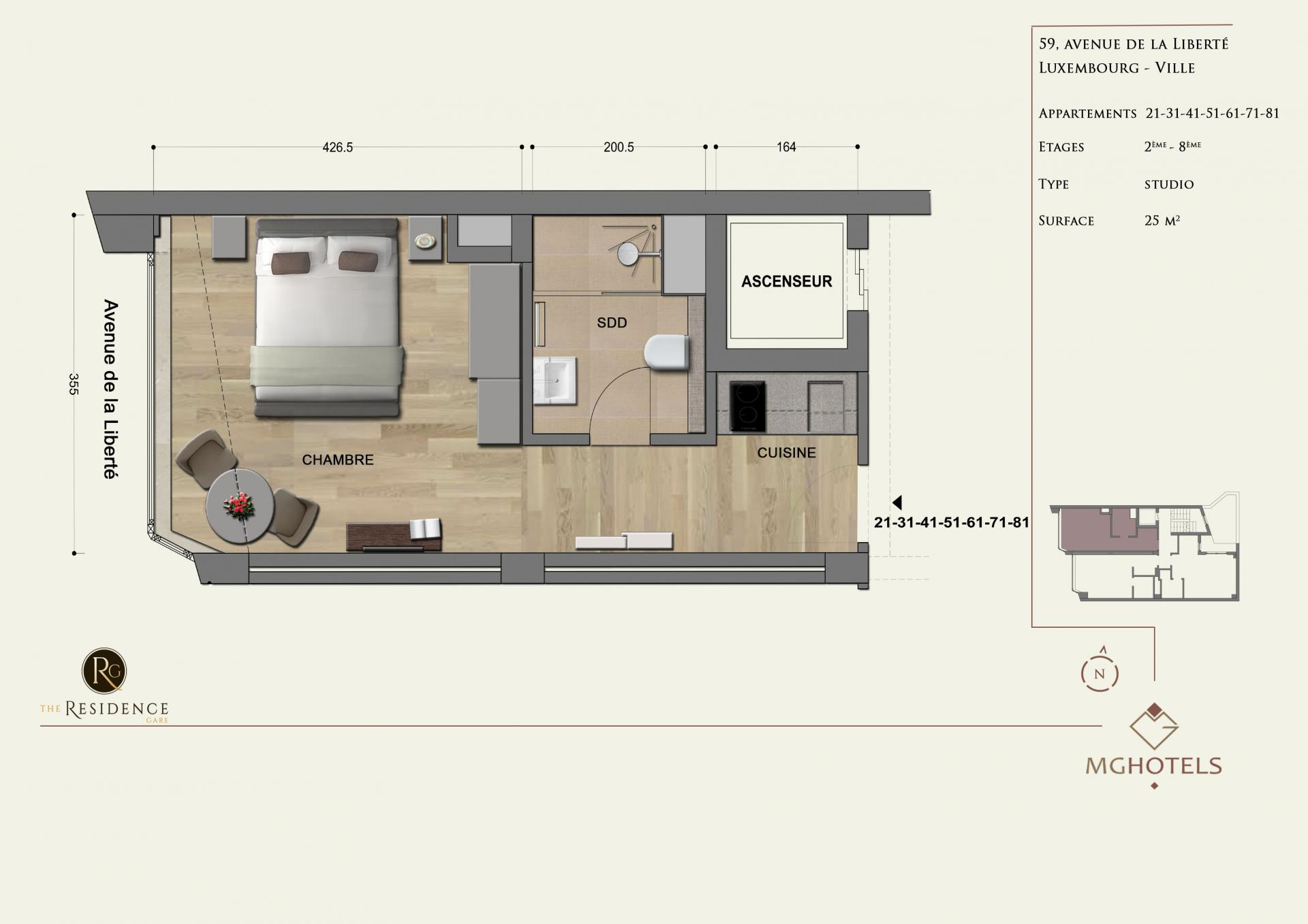 Floor plan 1 at The Residence Gare, Gare, Luxembourg