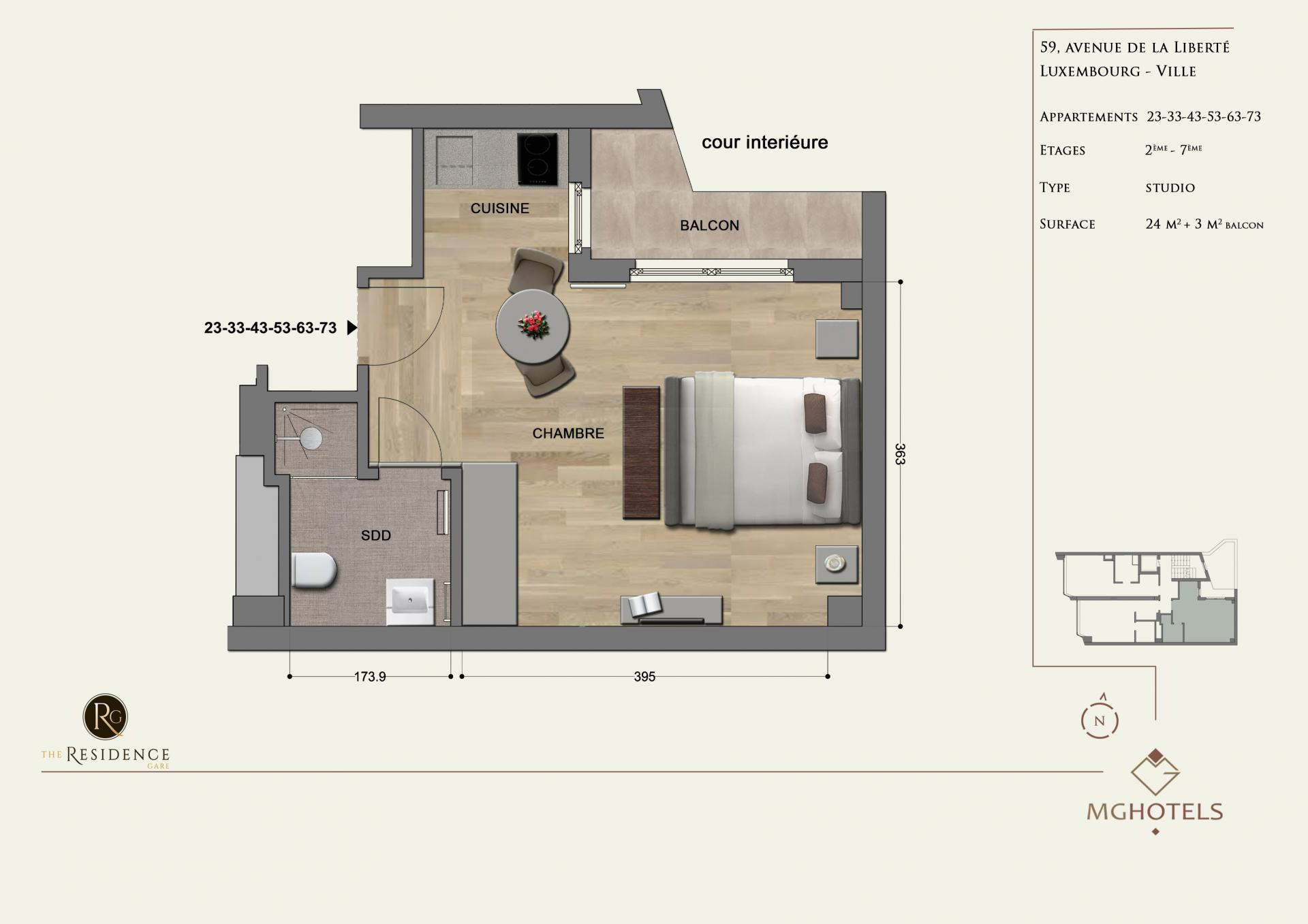 Floor plan 2 at The Residence Gare, Gare, Luxembourg