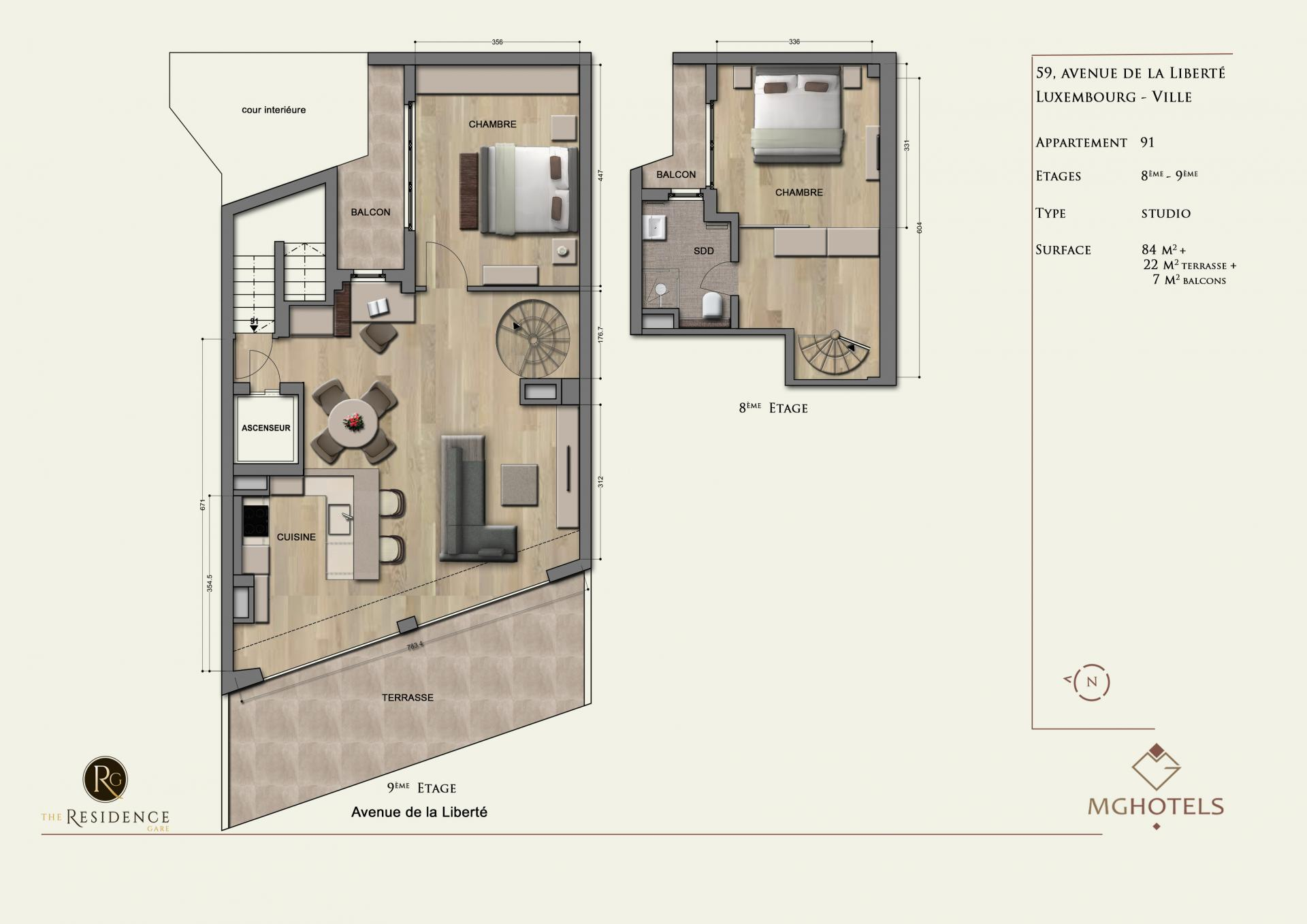 Floor plan 3 at The Residence Gare, Gare, Luxembourg