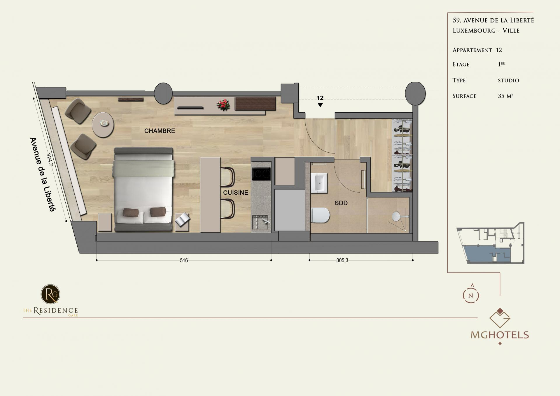 Floor plan 6 at The Residence Gare, Gare, Luxembourg