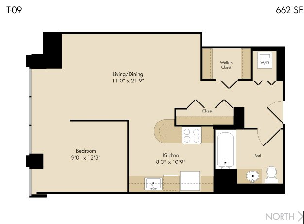 Floor plan at 215 West Serviced Apartment