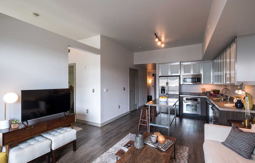 Living area at Velocity on The Gulch Apartment