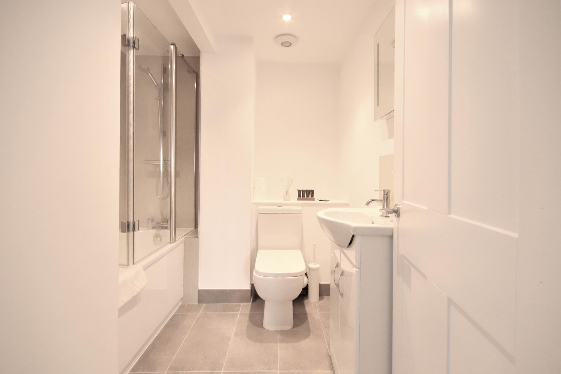 Modern bathroom at Bridge Street Apartments
