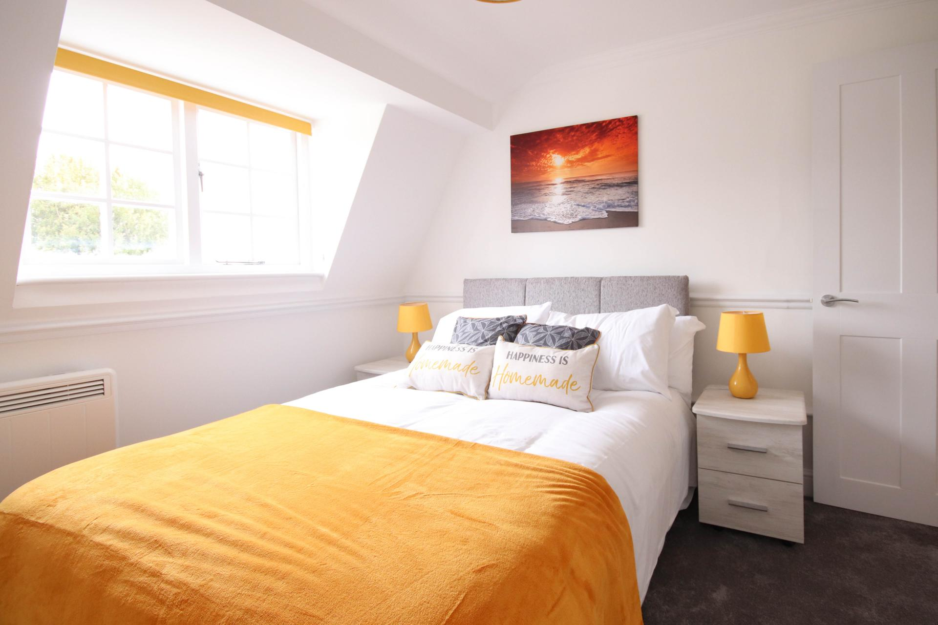 Bright bedroom at Bridge Street Apartments