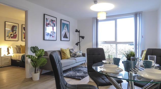 Living area at Canal Side Serviced Apartments