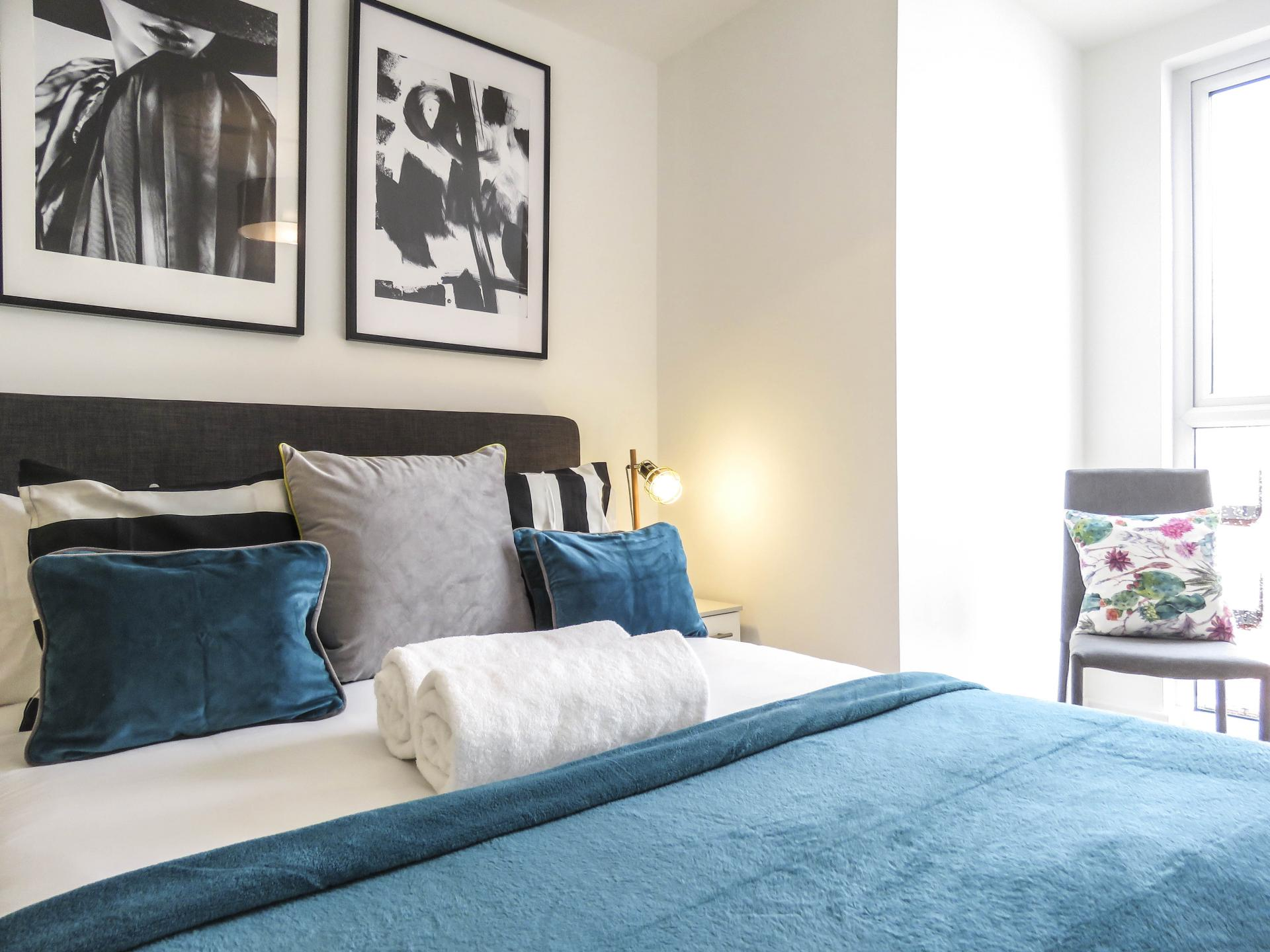 Modern bedroom at Canal Side Serviced Apartments