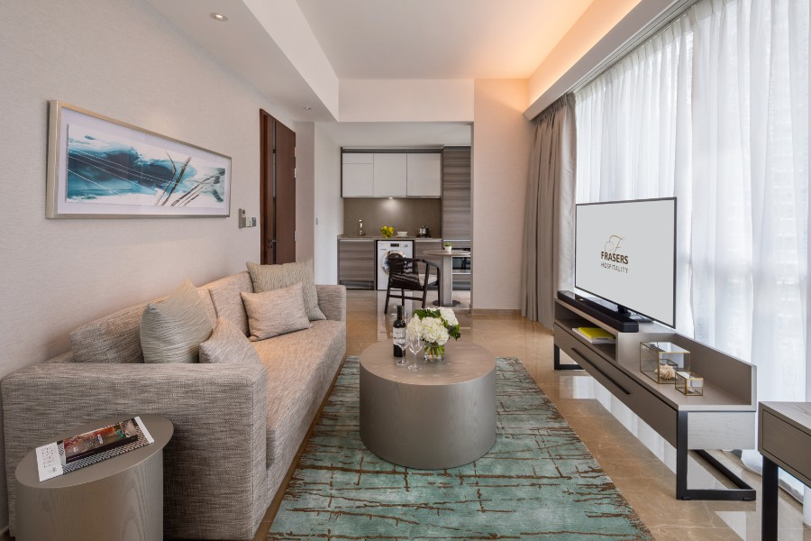 Stylish living area at Fraser Residence Orchard Apartments, Singapore