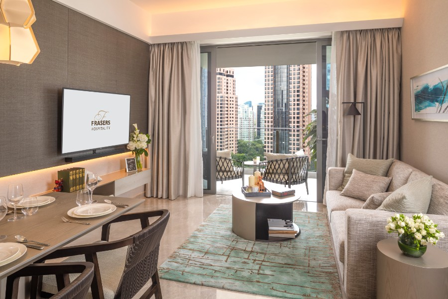 Living room at Fraser Residence Orchard Apartments, Singapore