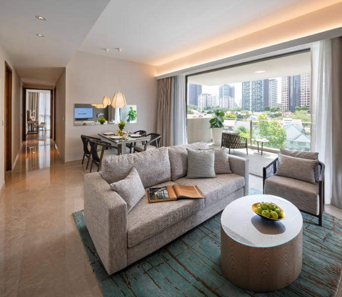 Open-plan living area at Fraser Residence Orchard Apartments, Singapore