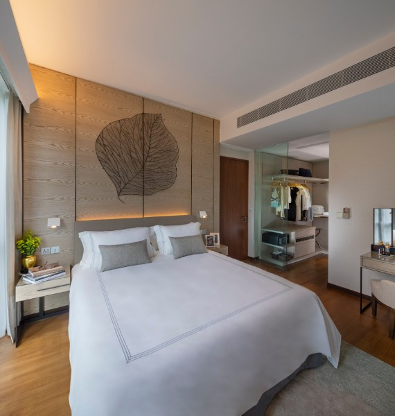 Comfortable bed at Fraser Residence Orchard Apartments, Singapore