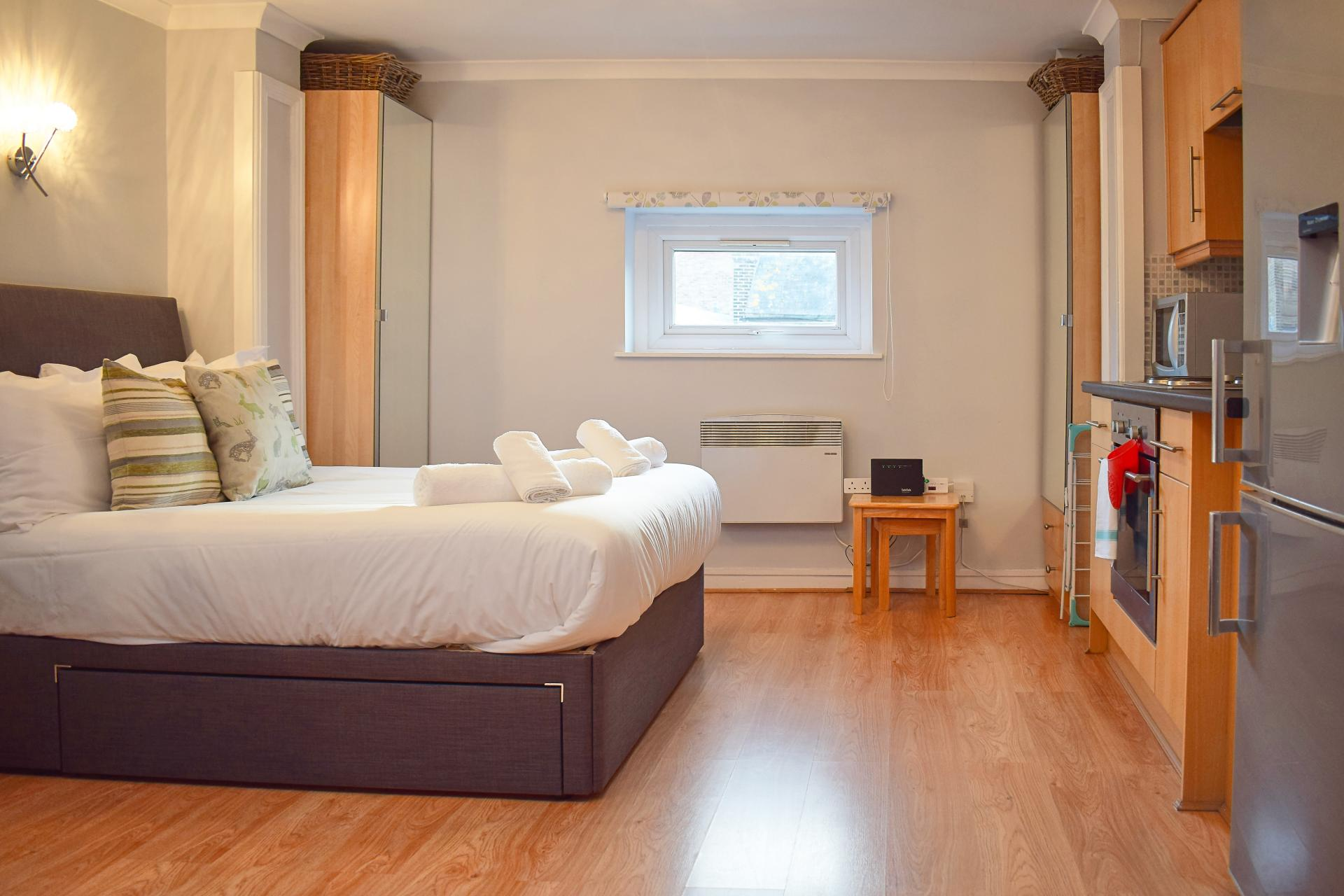 Double bed at Market Street Studio Apartment