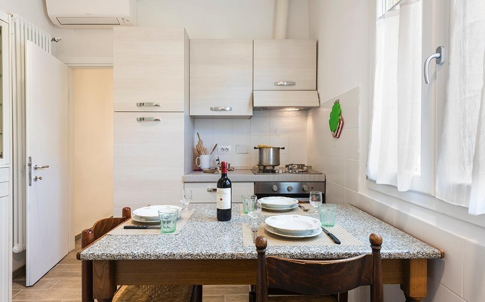 Kitchen area at Serenity Apartment