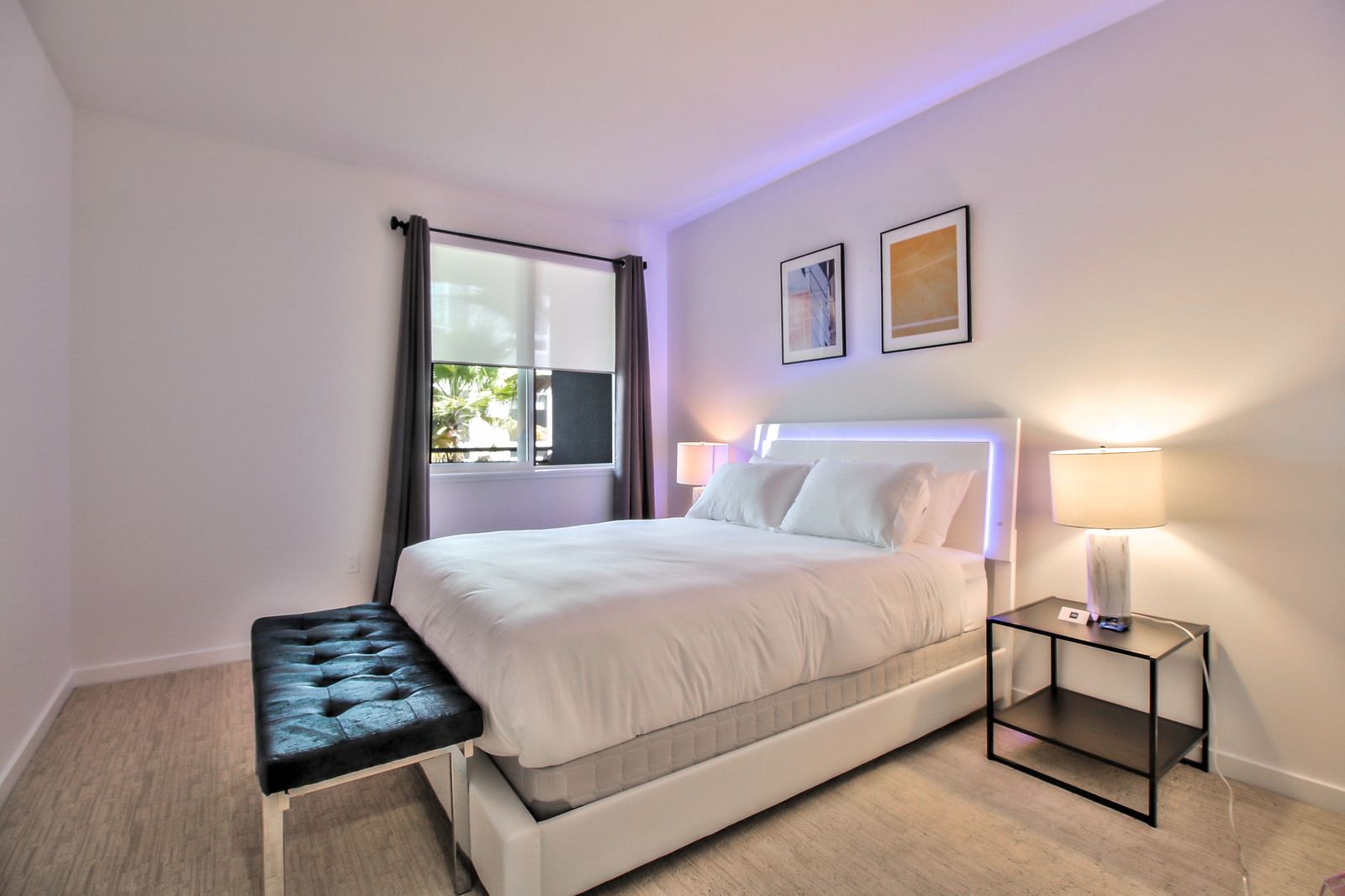Stylish bedroom at Aire Serviced Apartments