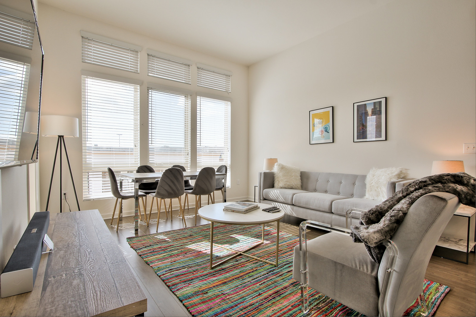 Modern lounge at River View Apartment Homes