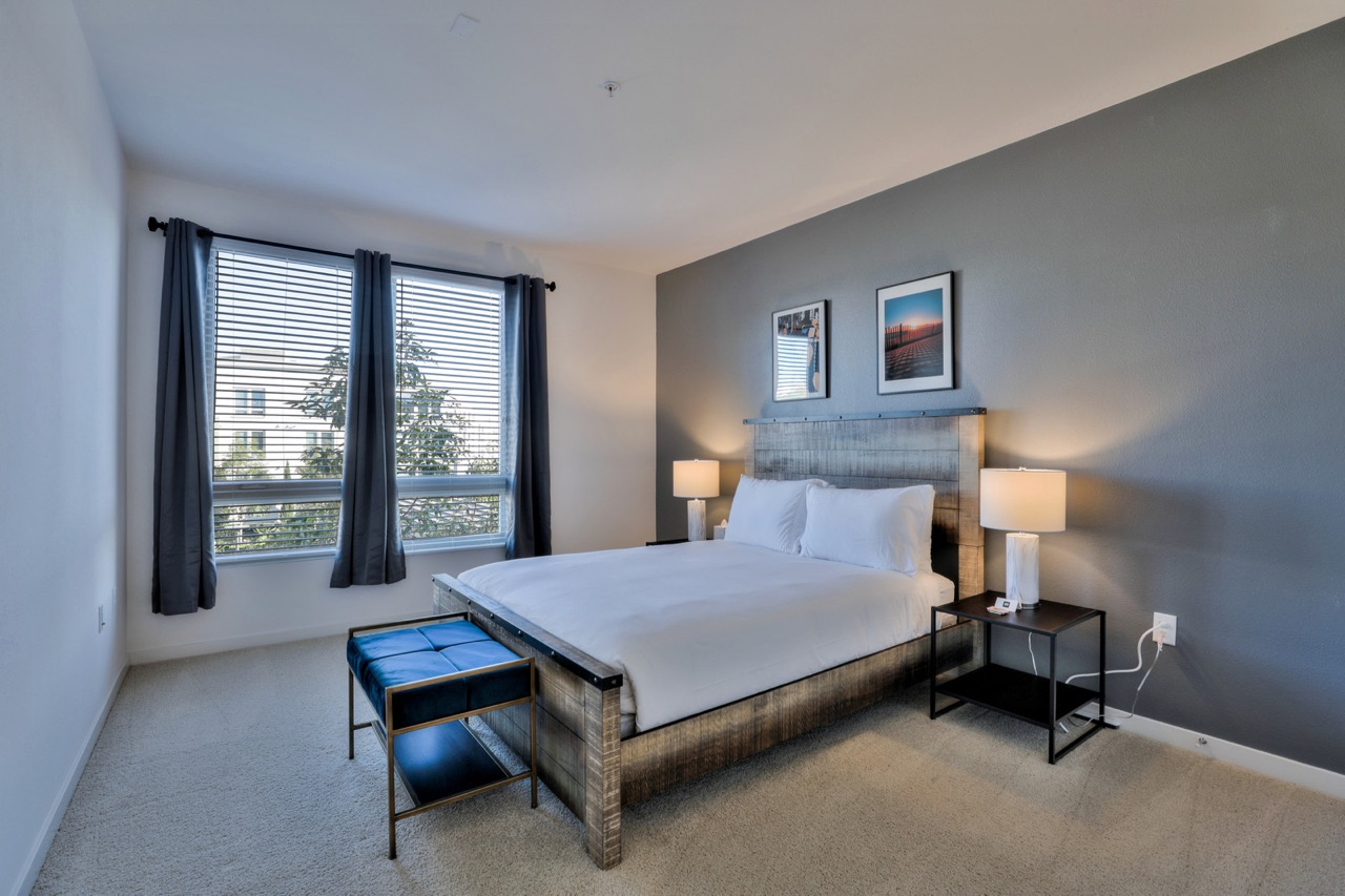 Double bed at River View Apartment Homes