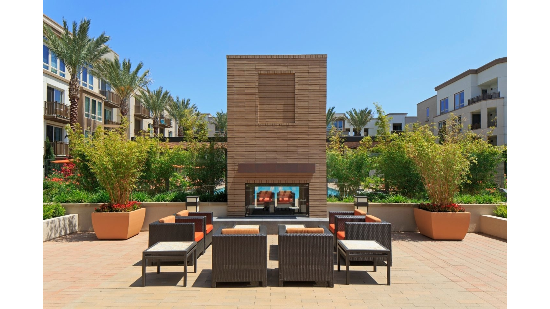 Terrace area at River View Apartment Homes