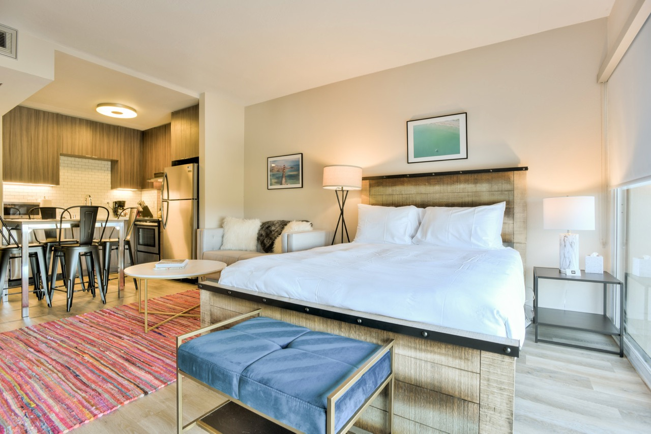 Modern bedroom at The Mia Serviced Apartments