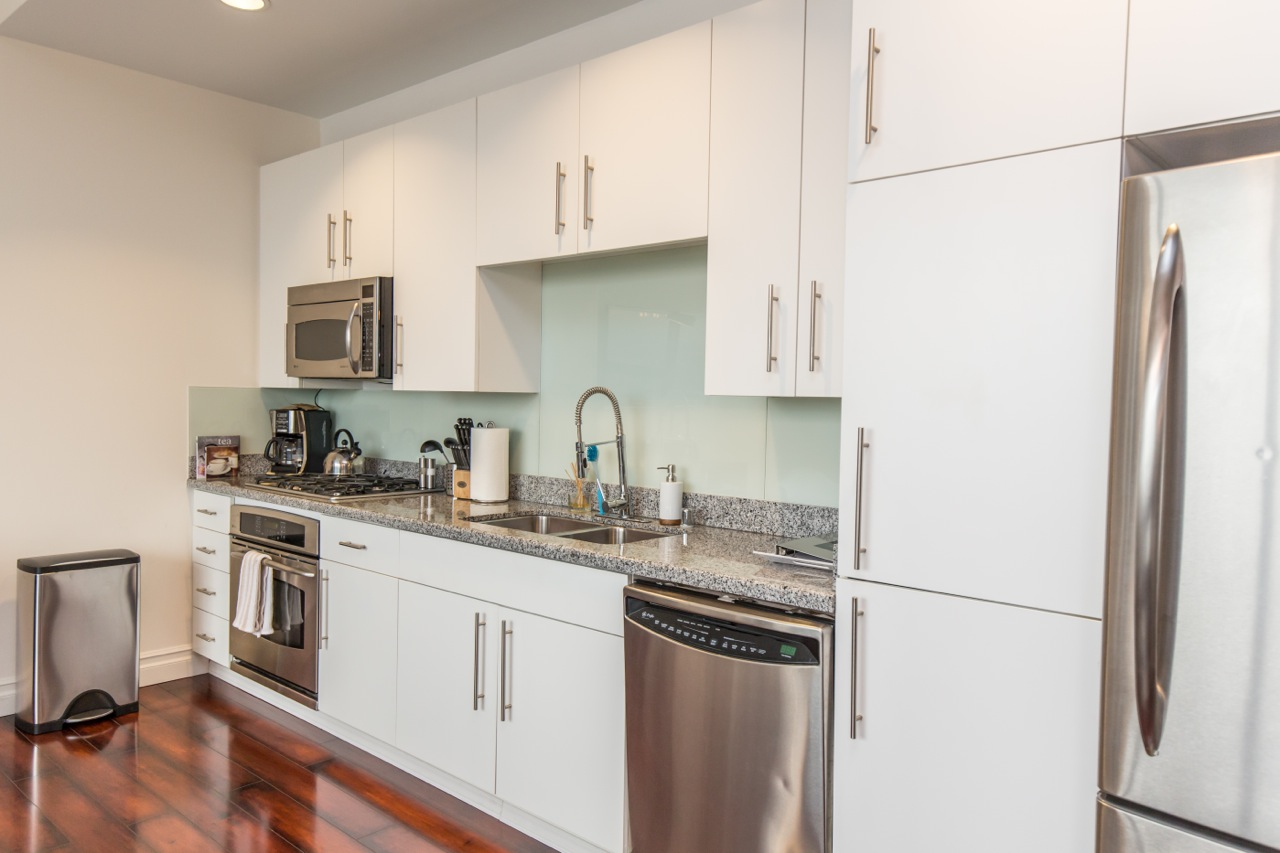 Kitchen at 1100 Wilshire Apartment