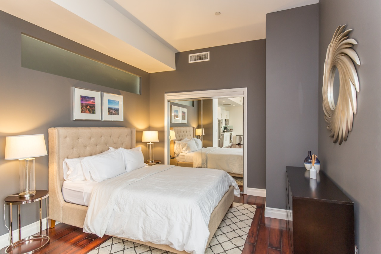 Bedroom at 1100 Wilshire Apartment