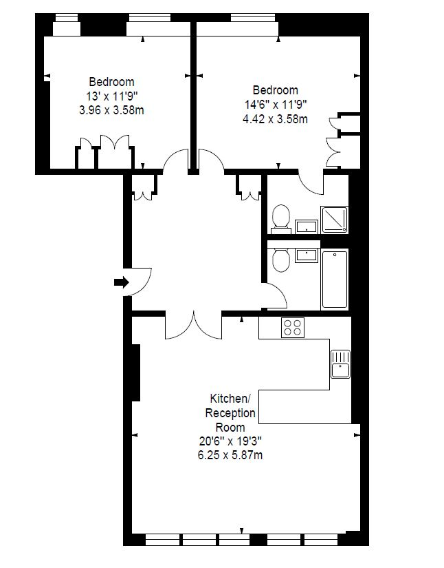 Superior 2 bedroom 2 bathroom apartment at The Residence at Shoreditch Apartments, Old Street, London