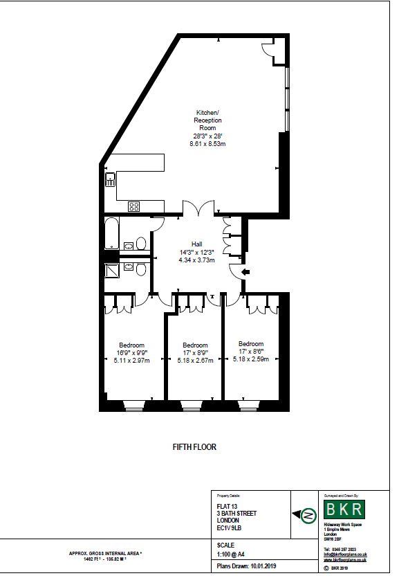 3 bedroom 2 bathroom with balcony at The Residence at Shoreditch Apartments, Old Street, London