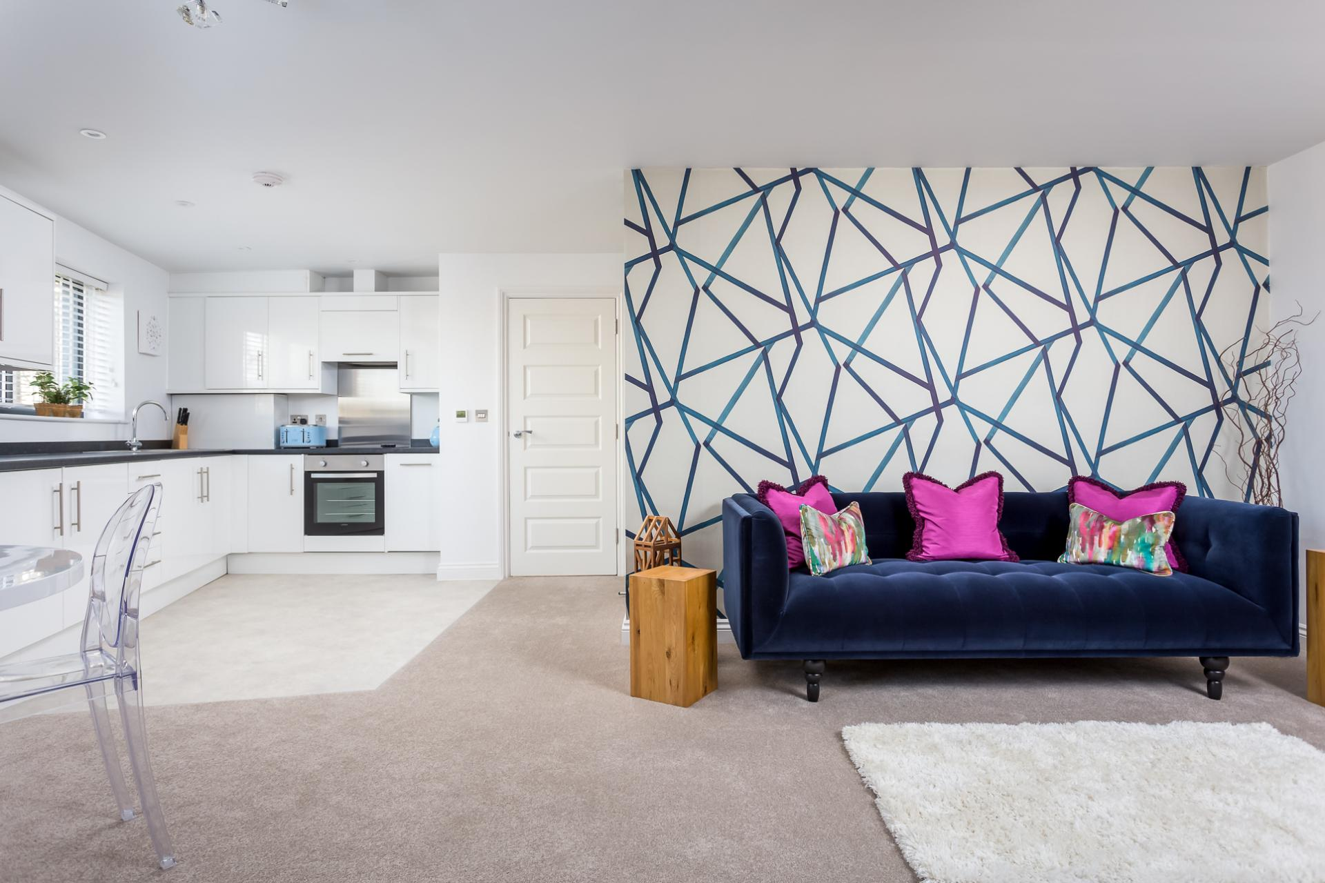 Open-plan living area at St George's Road Apartment