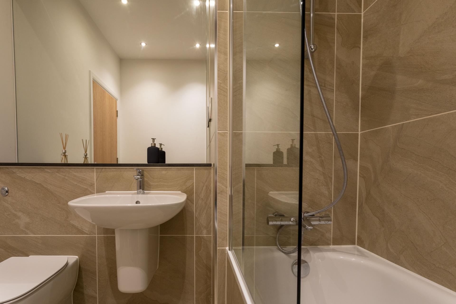 Bathroom at Emerald House Apartments