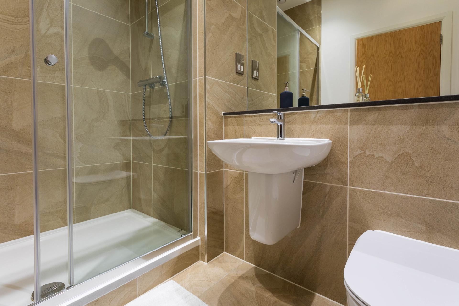 Shower at Emerald House Apartments