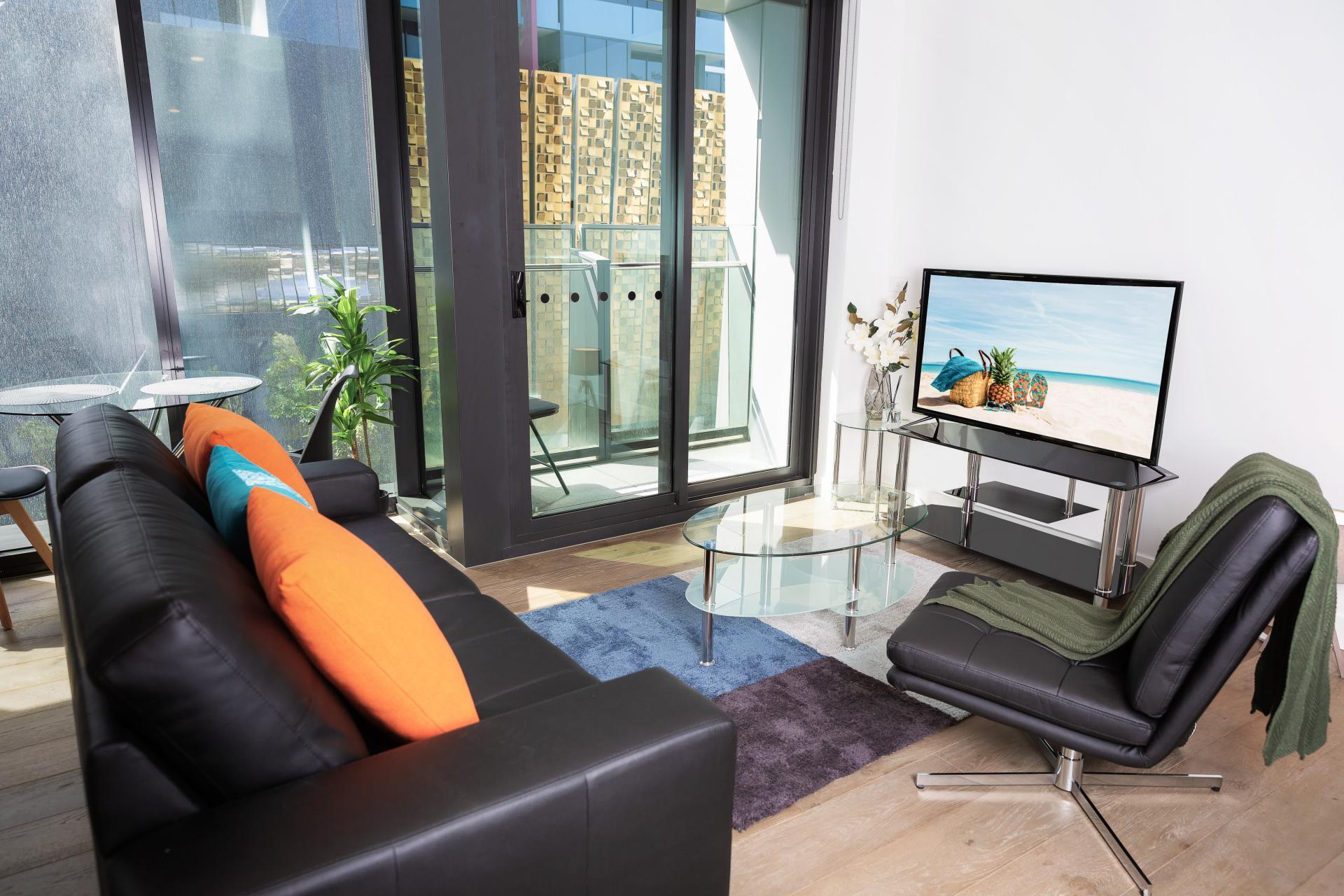 Bright living area at Doepel Way Apartments