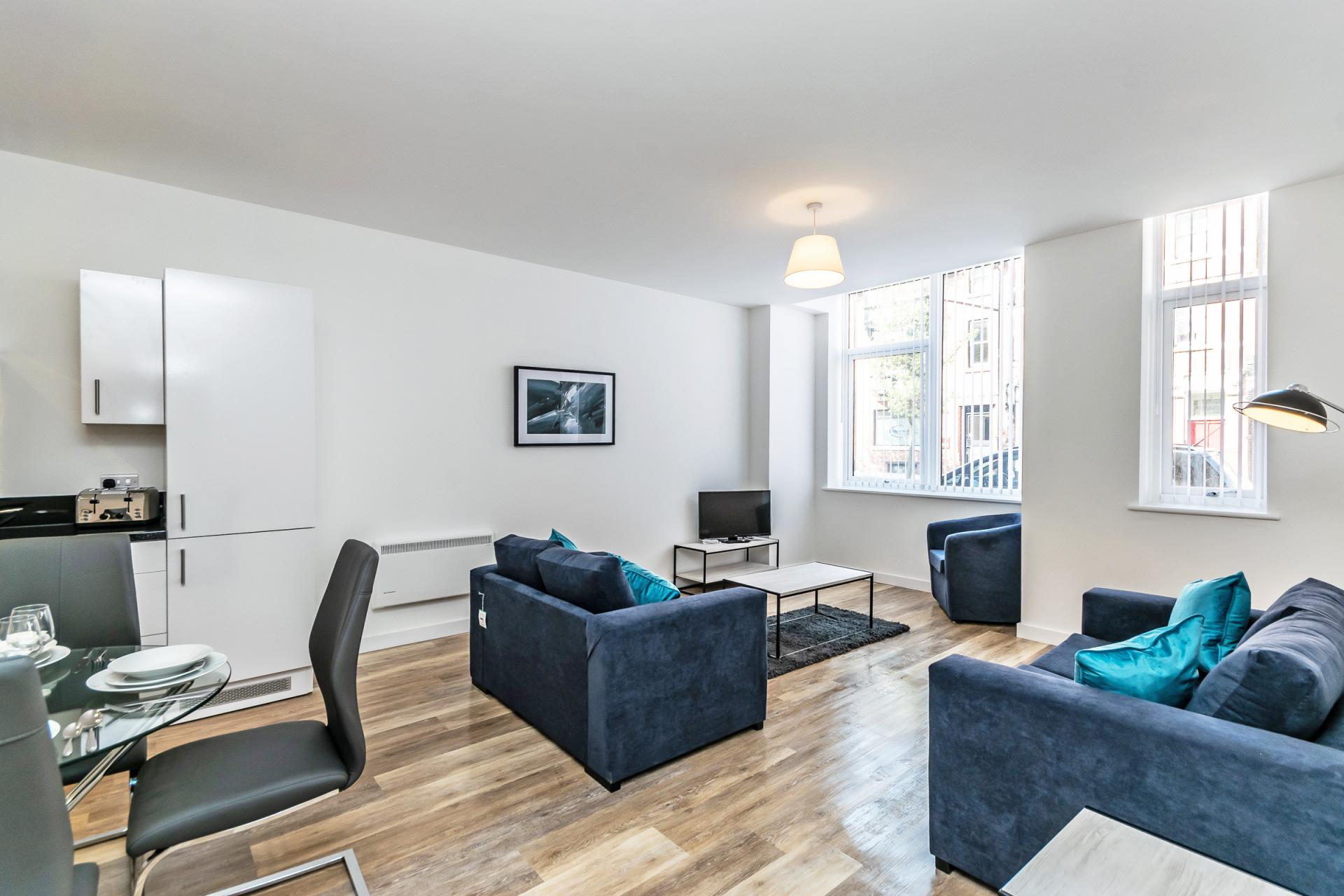 Open-plan living area at City Suites Apartments