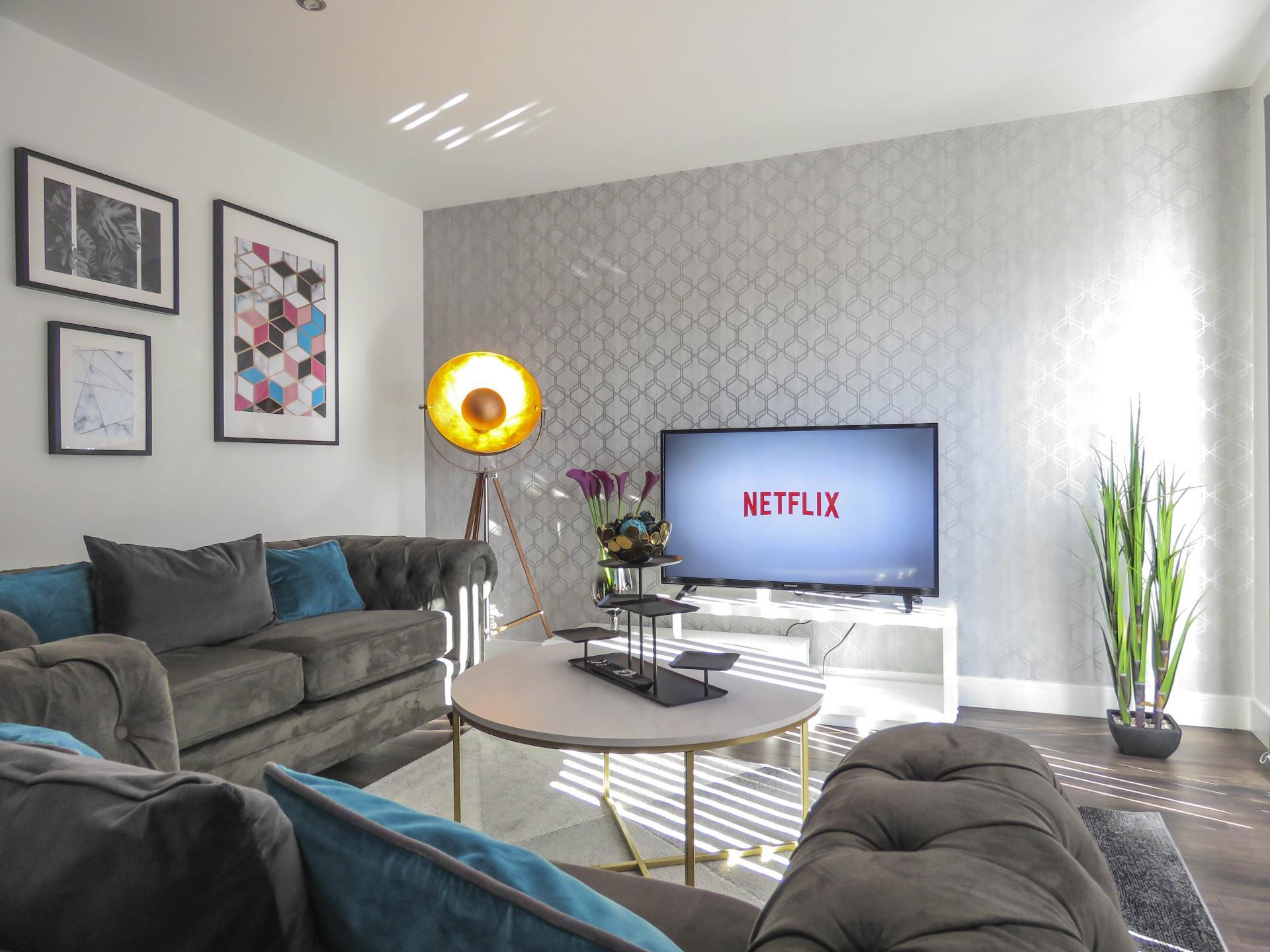 Living room at Kettleworks Serviced Apartments