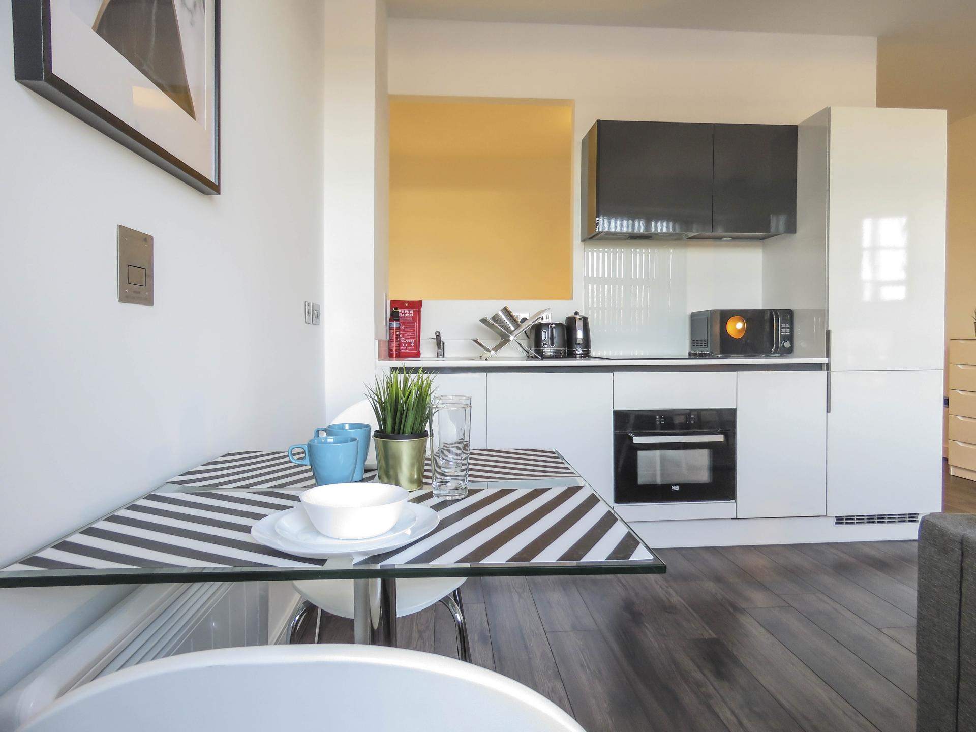 Kitchen at Kettleworks Serviced Apartments