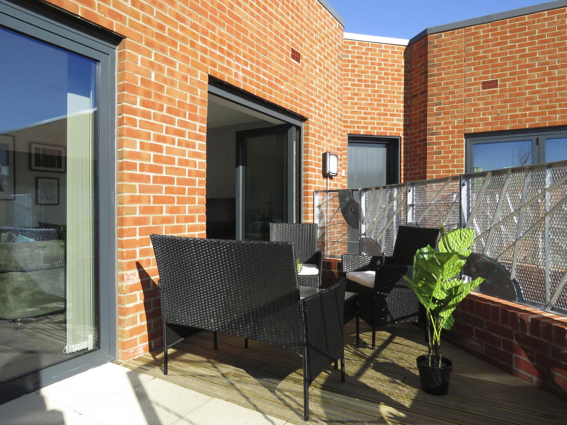 Seating area at Kettleworks Serviced Apartments
