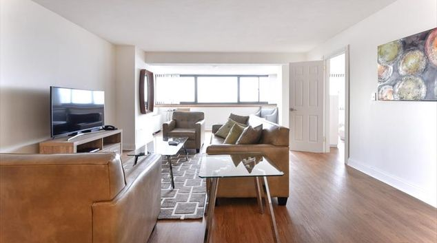 Living room at 10 Emerson Place Apartments