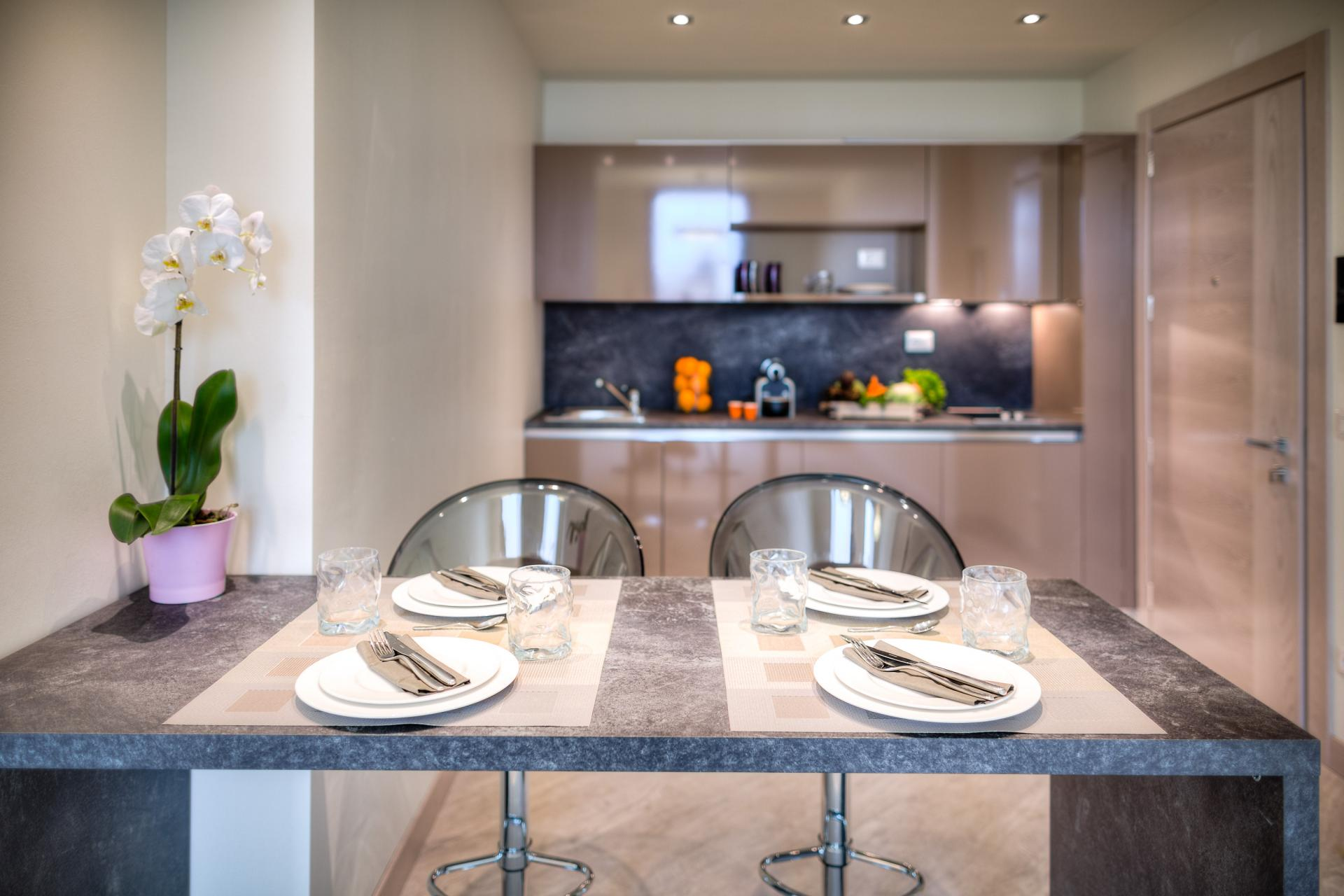 Modern kitchen at Forte16 View & Spa Apartments