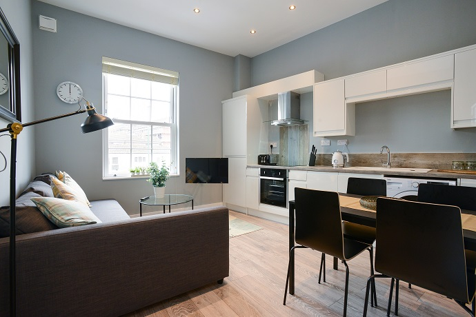 Living room at Arena Serviced Apartments