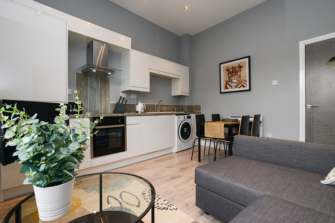 Modern kitchen at Arena Serviced Apartments