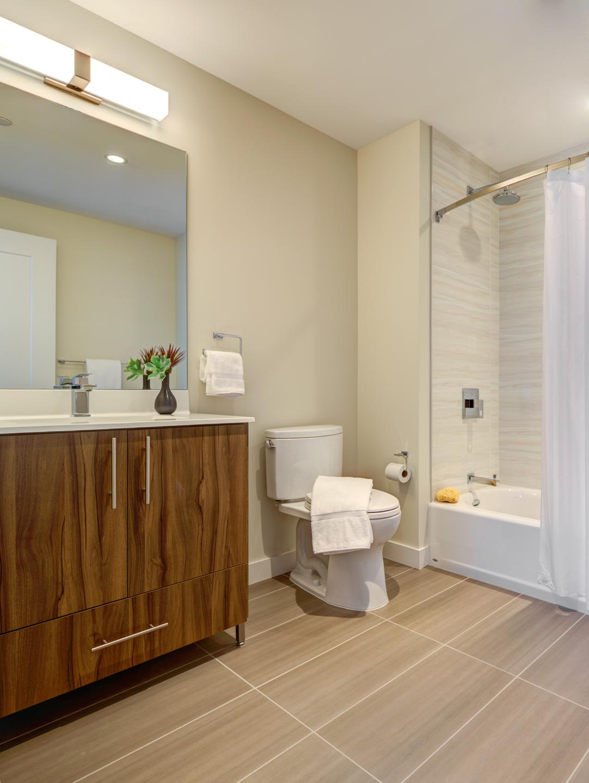Spacious bathroom at The Benjamin Serviced Apartments