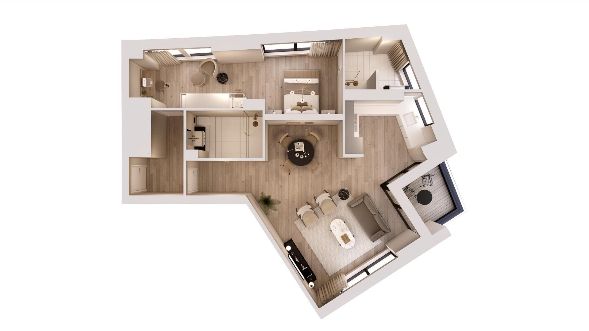 1 bedroom premium floor plan at STAY Camden Serviced Apartments, Camden, London