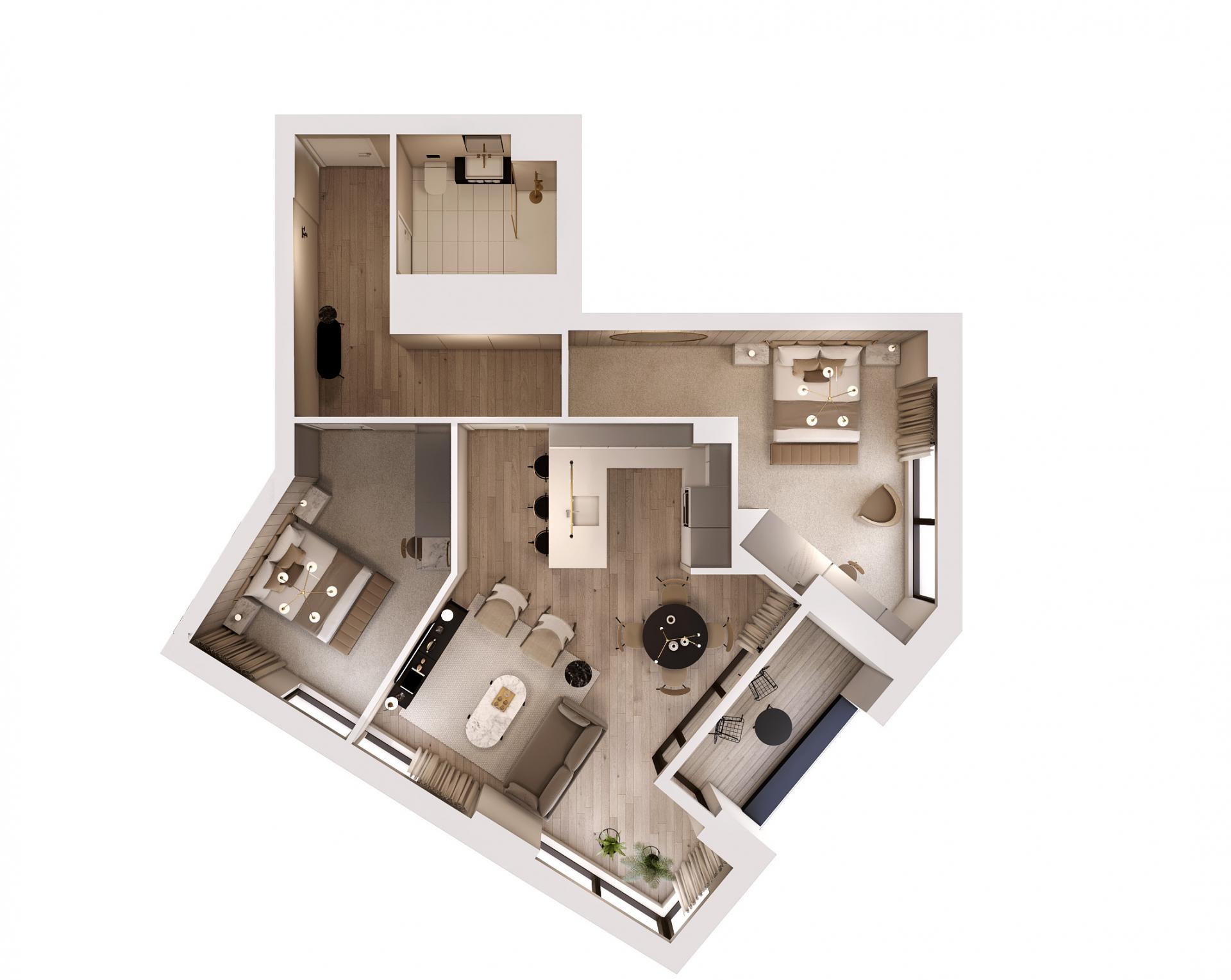 2 bed 2 bath floor plan at STAY Camden Serviced Apartments, Camden, London
