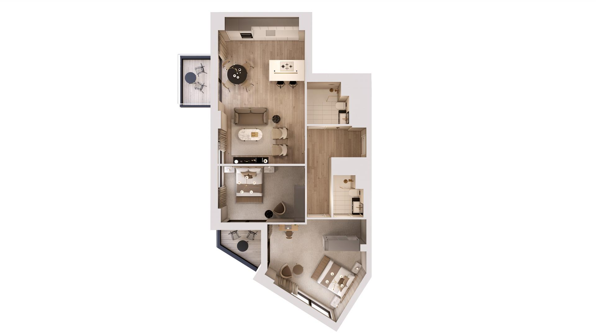2 bed 2 bathroom floor plan at STAY Camden Serviced Apartments, Camden, London
